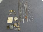 Lot: 6678 - CLOCK, WATCHES, PINS, NECKLACES & 14K EARRINGS