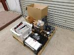 Lot: 53 - Pallet with Drill, Holsters, Office Supplies