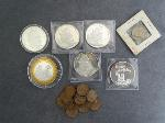 Lot: 2 - SILVER ROUNDS, PENNIES, FRANK COIN