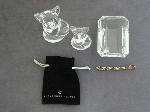 Lot: 34 - SILVER BRACELET, GLASS FIGURINES, PAPERWEIGHT