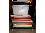 Lot: DH-21864 - Rolling Cart w/ (29) Cutting Boards/Bins