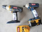 Lot: 188 - RYOBI BATTERY & (2) RYOBI DRILLS