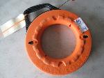 Lot: 200&201 - ORANGE AND BLACK WIRE TAPE SPOOL & ELECTRIC OUTLET BREAKER