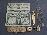 Lot: 6842 - LAPEL PIN, TIE CLIP, TOKENS & SILVER CERTIFICATES