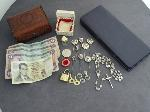 Lot: 688 - STICK PINS, FOREIGN BILLS, TUX BUTTONS & 8K RING