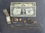 Lot: 693 - RED SEAL $2 BILL, $1 SILVER CERT. & 14K NECKLACE