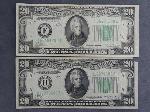 Lot: 6879 - (2) 1934 $20 BILLS