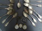 Lot: 6901 - SPOONS, MONEY CLIP & POCKET WATCHES
