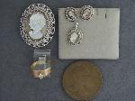 Lot: 754 - MEDAL, EARRINGS, STERLING PENDANT & 14K RING