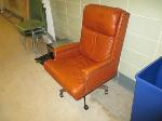 Lot: 38-SP - LEATHER CHAIR, MICROWAVE, (3) CHAIRS