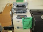 Lot: 43-SP - STORAGE CABINET, STOOL, TABLE, TAPE PLAYERS, PRINTERS