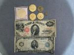 Lot: 208 - TOKENS, LARGE $5 BILL & LARGE $1 RED SEAL BILL