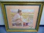 Lot: A7618 - Mother & Daughter on Beach Painting