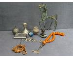 Lot: 789 - NECKLACES, FIGURINES & STERLING CANDLE HOLDER