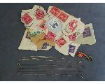 Lot: 801 - LAPEL PINS, STAMPS, SILVER & 14K CHAINS