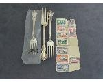 Lot: 805 - STERLING TOWLE OLD MASTER FORKS & FOREIGN STAMPS