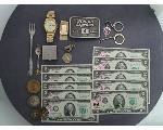Lot: 256 - TOKENS, WATCH, MONEY CLIP & $2 BILLS