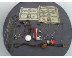 Lot: 7137 - KNIFE, NECKLACES, CURRENCY & SILVER NECKLACES