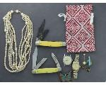 Lot: 874 - PEARL LIKE NECKLACE, WATCH FACE & POCKET KNIVES