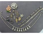 Lot: 879 - LAPEL PINS, NECKLACES, SILVER RINGS & BRACELETS