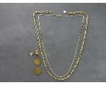Lot: 919 - TOKENS, PIN, STERLING PIN & 14K NECKLACE