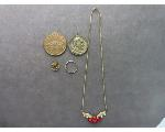 Lot: 53 - NECKLACE, TOKENS & 14K RING