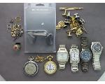 Lot: 54 - WATCHES, POCKET WATCHES, EARRINGS & RINGS