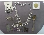 Lot: 58 - SPOON, EARRINGS, TOKENS, 10K EARRING & SILVER RING