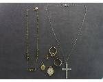 Lot: 7458 - NECKLACE, CHARM, SILVER RING, 14K PENDANT & 14K RING