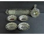Lot: 7523 - CANDY/NUT DISHES & SILVER SMALL SERVING TRAY