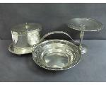 Lot: 7525 - CANISTER W/TRAY & STERLING TRAY & SERVING BASKET