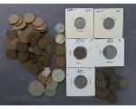 Lot: 7536 - DIMES, INDIAN HEAD & WHEAT PENNIES & FOREIGN