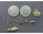 Lot: 1035 - LAPEL PIN, TIE BAR, TIE CLIP & 14K RING