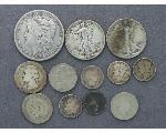 Lot: 160 - MORGAN DOLLAR, LIBERTY HALVES, QUARTER & DIMES