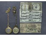 Lot: 185 - POCKET WATCHES, U.S. CURRENCY & CONFEDERATE BILL