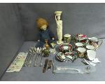 Lot: 1074 - NECKLACE, TEA SET, STERLING FORK & KNIFE & STAMPS