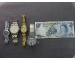 Lot: 7676 - MEN'S & LADIES WATCHES, FOREIGN NOTE & 14K RING