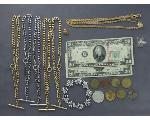 Lot: 7684 - BRACELET, RING, NECKLACES, TOKENS & U.S. CURRENCY