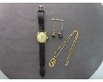 Lot: 7691 - WATCH, TIE TACS, PENDANT & 14K CHAIN