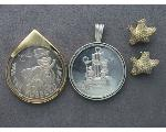 Lot: 7697 - MEDAL, STERLING PENDANT & SILVER EARRINGS