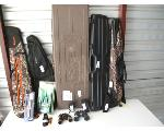 Lot: 50 - RIFLE CASES, BOW, BINOCULARS, HOLSTERS, KNIFE