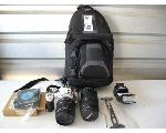 Lot: 54 - CAMERAS, LENSES, FLASH, BAG