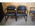 Lot: 41&42-2403 - Rolling Office Chair & Pair of Black Chairs