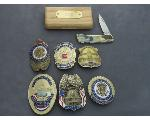 Lot: 230 - COLLECTOR BADGES & KNIFE