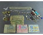 Lot: 236 - NECKLACES, EARRINGS, TOKENS/SCRIPTS & FOREIGN BILLS