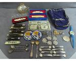 Lot: 1135 - PINS, KNIVES, WATCH, SILVER SPOONS & SILVER CERTS.
