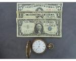 Lot: 1146 - ELGIN POCKET WATCH & RED SEAL $5 BILL