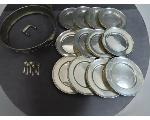 Lot: 7796 - SERVING RING, STERLING SMALL PLATES & SPICE SPOONS