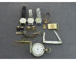 Lot: 7812 - CUFF LINKS, WATCHES & POCKET WATCH