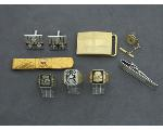 Lot: 7813 - TIE CLIP, CUFF LINKS, STERLING RINGS & 10K RING